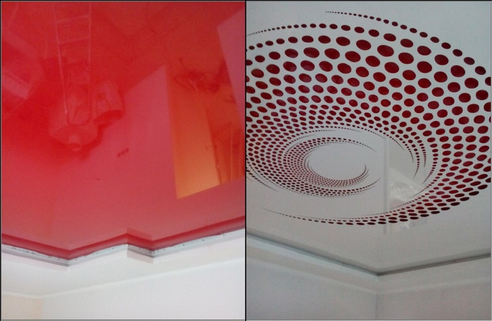 Two films of a carved ceiling: solid upper (red) and lower with a carved pattern (white)